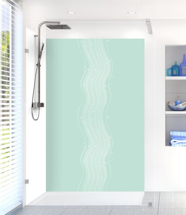 Panneau de douche Vagues design couleur vert pastel