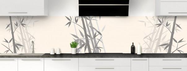 Crédence de cuisine Bambou zen couleur magnolia panoramique motif inversé