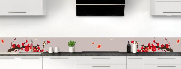 Crédence de cuisine Cerisier japonnais couleur argile dosseret motif inversé