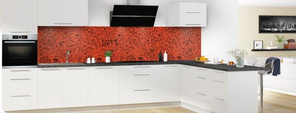 Crédence de cuisine Love illustration couleur rouge brique panoramique en perspective