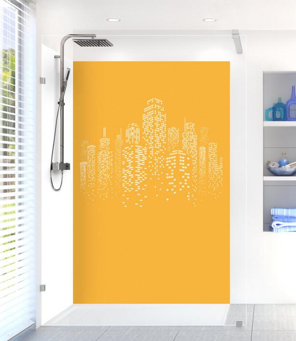 Panneau de douche Gratte-ciels couleur abricot motif inversé
