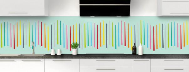 Crédence de cuisine Barres colorées couleur vert pastel panoramique