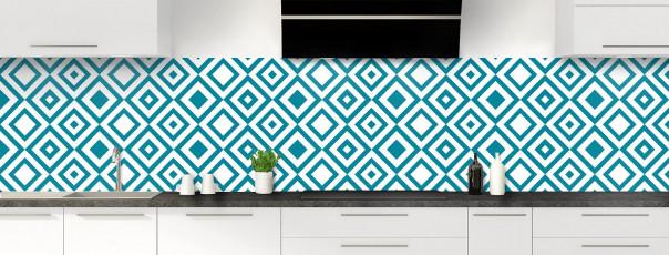 Crédence de cuisine Losanges vintage couleur bleu canard panoramique
