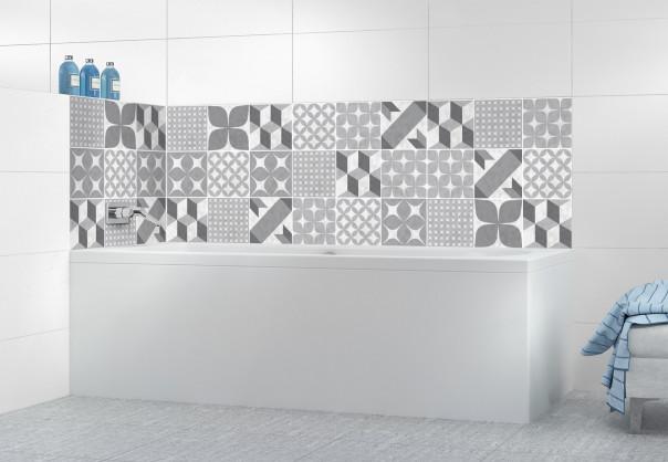 Panneau de bain Carreaux de ciment patchwork Gris