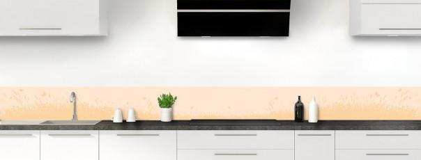 Crédence de cuisine Prairie et papillons couleur sable dosseret