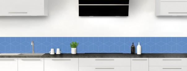 Crédence de cuisine Cubes en relief couleur bleu lavande dosseret