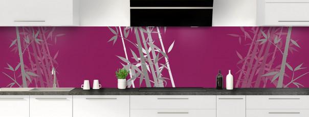 Crédence de cuisine Bambou zen couleur prune panoramique motif inversé