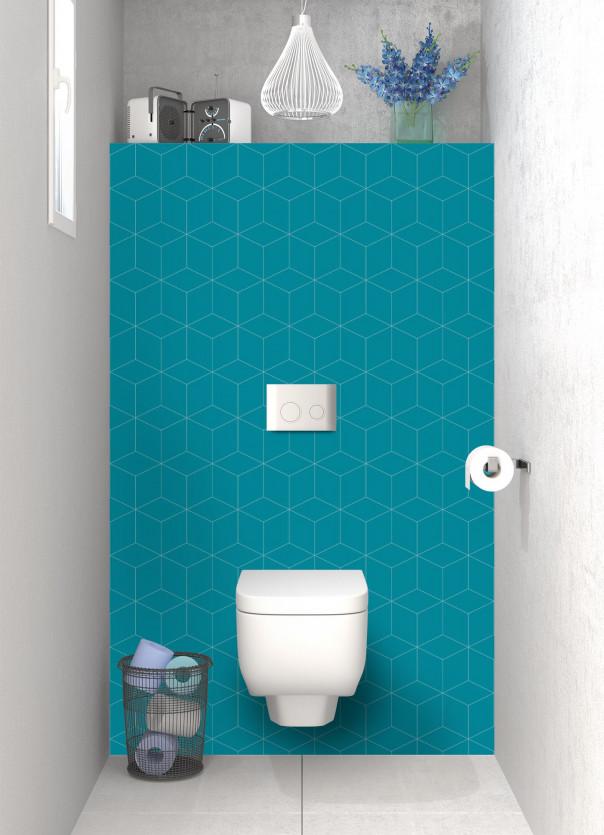 Panneau WC Cubes en relief couleur bleu canard