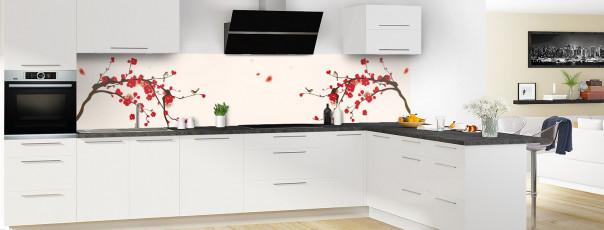 Crédence de cuisine Cerisier japonnais couleur magnolia panoramique motif inversé en perspective