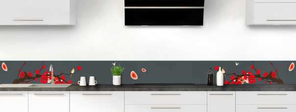 Crédence de cuisine Cerisier japonnais couleur gris carbone dosseret