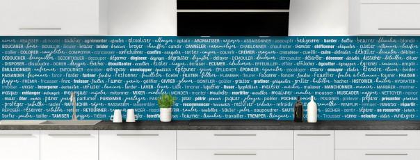 Crédence de cuisine Etapes de recette couleur bleu baltic panoramique