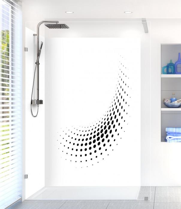 Panneau de douche Nuage de points couleur noir motif inversé