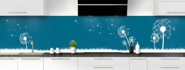 Crédence de cuisine Pissenlit au vent couleur bleu baltic panoramique motif inversé