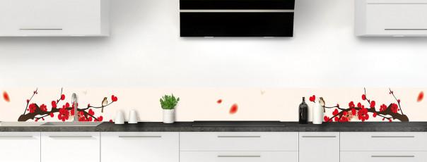 Crédence de cuisine Cerisier japonnais couleur magnolia dosseret motif inversé