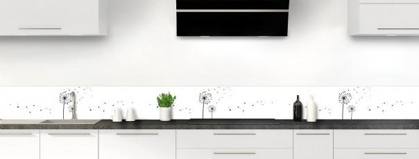 Crédence de cuisine Envol d'amour couleur gris carbone dosseret motif inversé