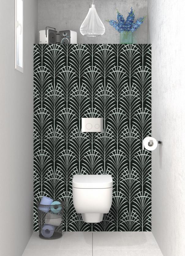 Panneau WC Feuilles de paume couleur vert eau