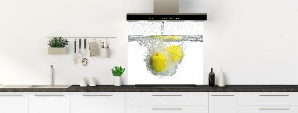 Crédence de cuisine Aqua et citron fond de hotte