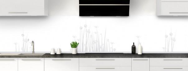 Crédence de cuisine Graminées couleur gris clair panoramique