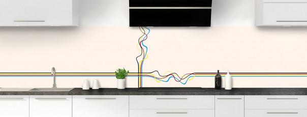 Crédence de cuisine Light painting couleur magnolia panoramique
