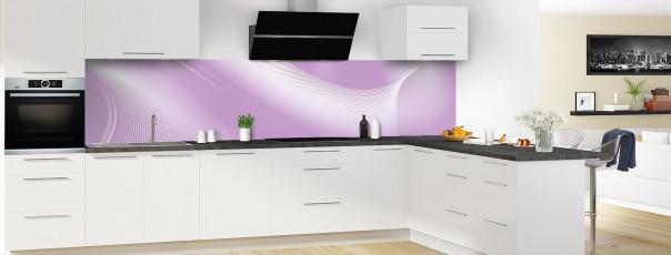 Crédence de cuisine Volute couleur parme panoramique motif inversé en perspective