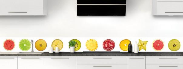 Crédence de cuisine Tranches de fruits dosseret motif inversé