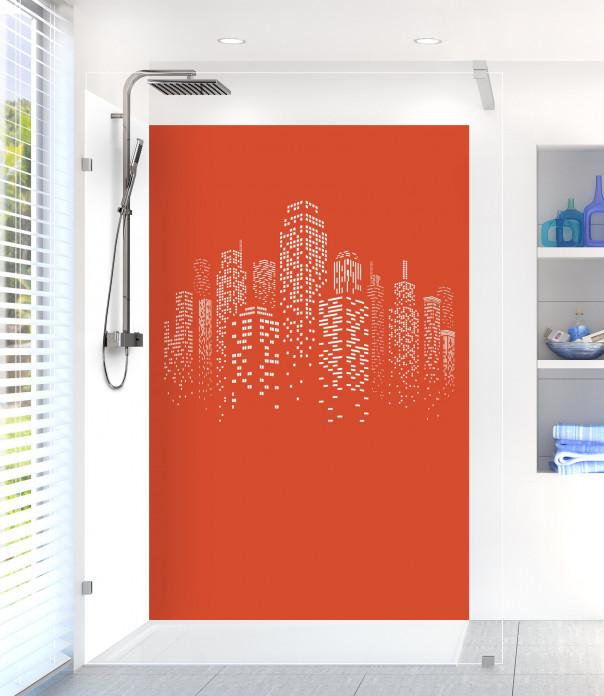 Panneau de douche Gratte-ciels couleur rouge brique