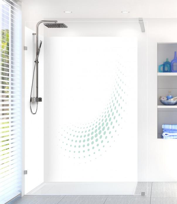 Panneau de douche Nuage de points couleur vert pastel motif inversé