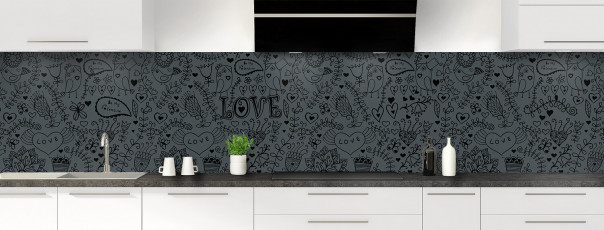 Crédence de cuisine Love illustration couleur gris carbone panoramique