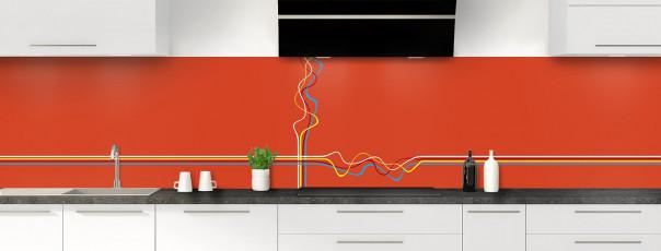 Crédence de cuisine Light painting couleur rouge brique panoramique