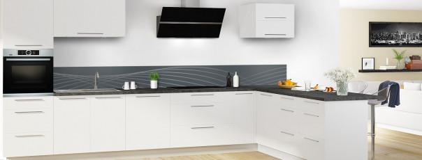 Crédence de cuisine Courbes couleur gris carbone dosseret motif inversé en perspective