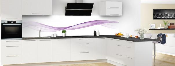 Crédence de cuisine Vague graphique couleur parme panoramique motif inversé en perspective