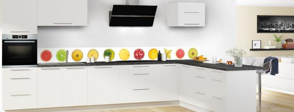 Crédence de cuisine Tranches de fruits dosseret motif inversé en perspective