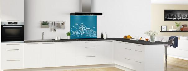 Crédence de cuisine Dessin de ville couleur bleu baltic fond de hotte en perspective