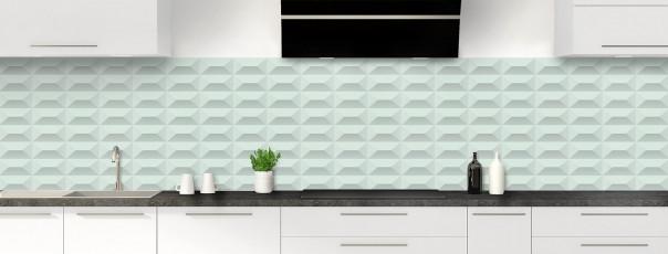 Crédence de cuisine Briques en relief couleur vert eau panoramique