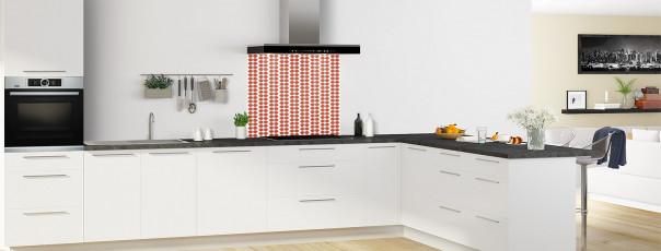 Crédence de cuisine Petites Feuilles Blanc couleur rouge brique fond de hotte en perspective