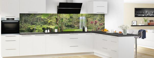 Crédence de cuisine Cascade tropicale panoramique motif inversé en perspective