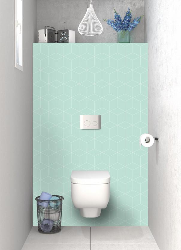 Panneau WC Cubes en relief couleur vert pastel