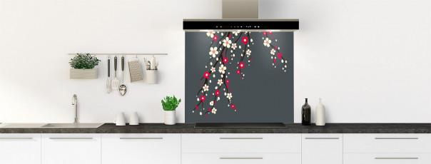 Crédence de cuisine Arbre fleuri couleur gris carbone fond de hotte motif inversé