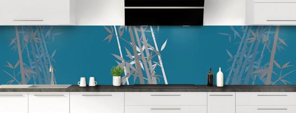 Crédence de cuisine Bambou zen couleur bleu baltic panoramique motif inversé