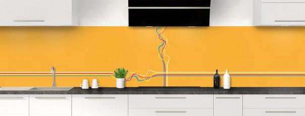 Crédence de cuisine Light painting couleur abricot panoramique motif inversé
