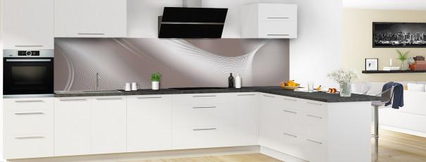 Crédence de cuisine Volute couleur taupe panoramique motif inversé en perspective