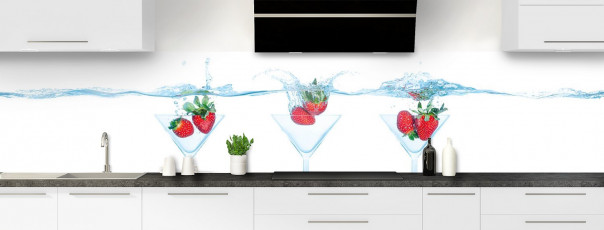 Crédence de cuisine Aqua et fraise panoramique