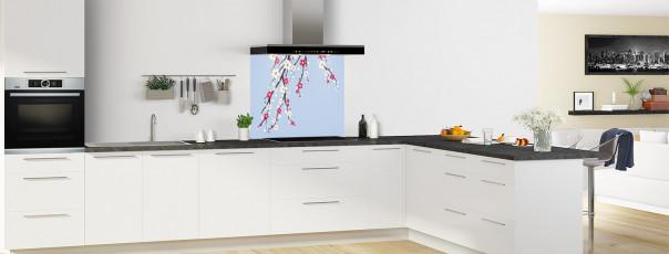 Crédence de cuisine Arbre fleuri couleur bleu azur fond de hotte motif inversé en perspective
