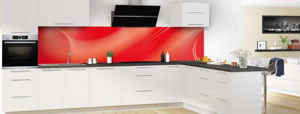 Crédence de cuisine Volute couleur rouge vif panoramique en perspective