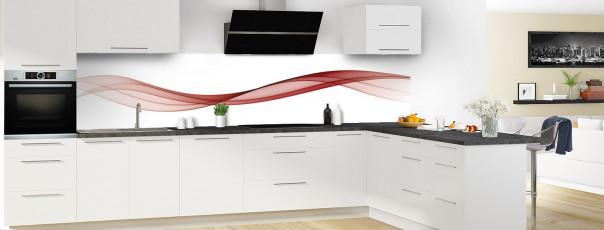 Crédence de cuisine Vague graphique couleur rouge carmin panoramique motif inversé en perspective