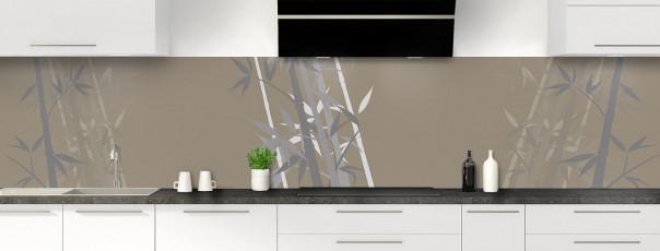Crédence de cuisine Bambou zen couleur marron glacé panoramique motif inversé