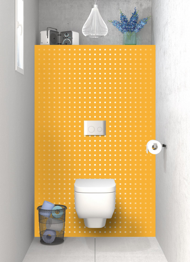 Panneau WC Petits carrés couleur abricot
