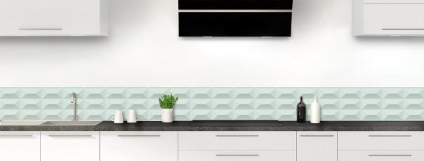 Crédence de cuisine Briques en relief couleur vert eau dosseret