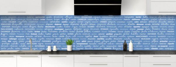 Crédence de cuisine Etapes de recette couleur bleu lavande panoramique