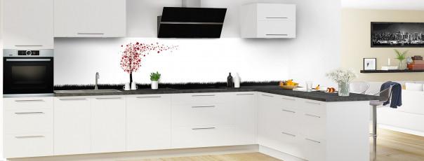 Crédence de cuisine Arbre d'amour couleur rouge carmin panoramique en perspective